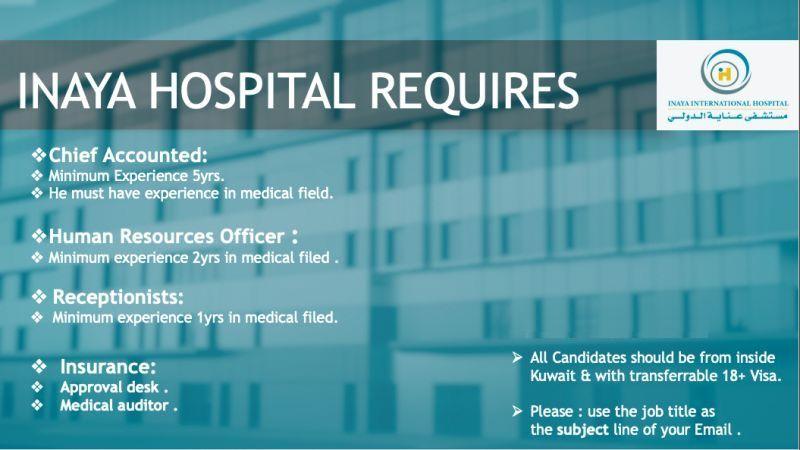 Inaya Hospital hiring kindly check the jobs bellow .