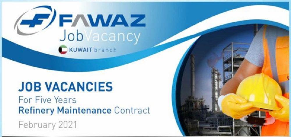 شركة فواز للتجارة للمقاولات تعلن عن عقد 5سنوات فى الكويت لعدد 10 تخصصات مهندسين وفنيين وسائقين