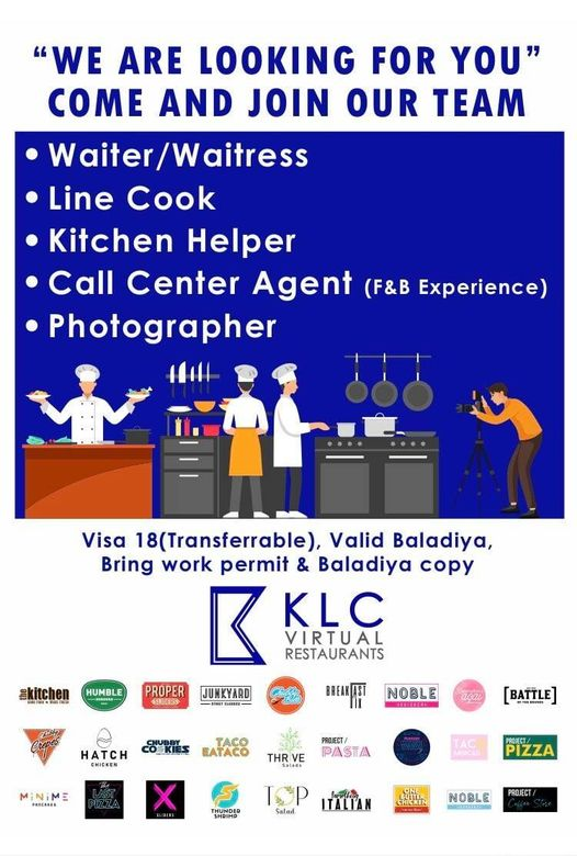 We are looking for the following positions for following vacancies, 1-waiter 2-line cook 3- kitchen helper 4- call center agent 5- photographer