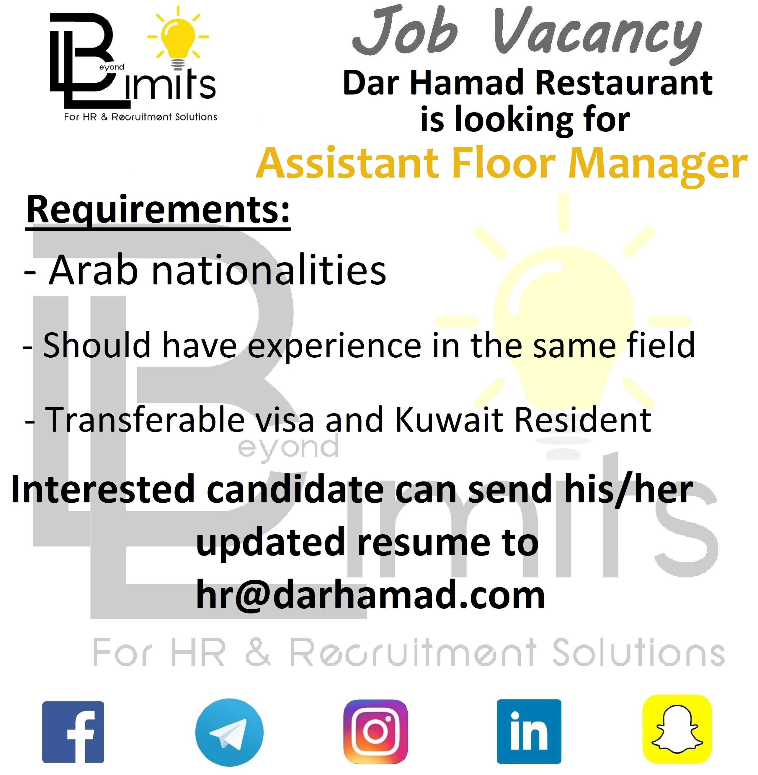 Required Assistant Floor Manager