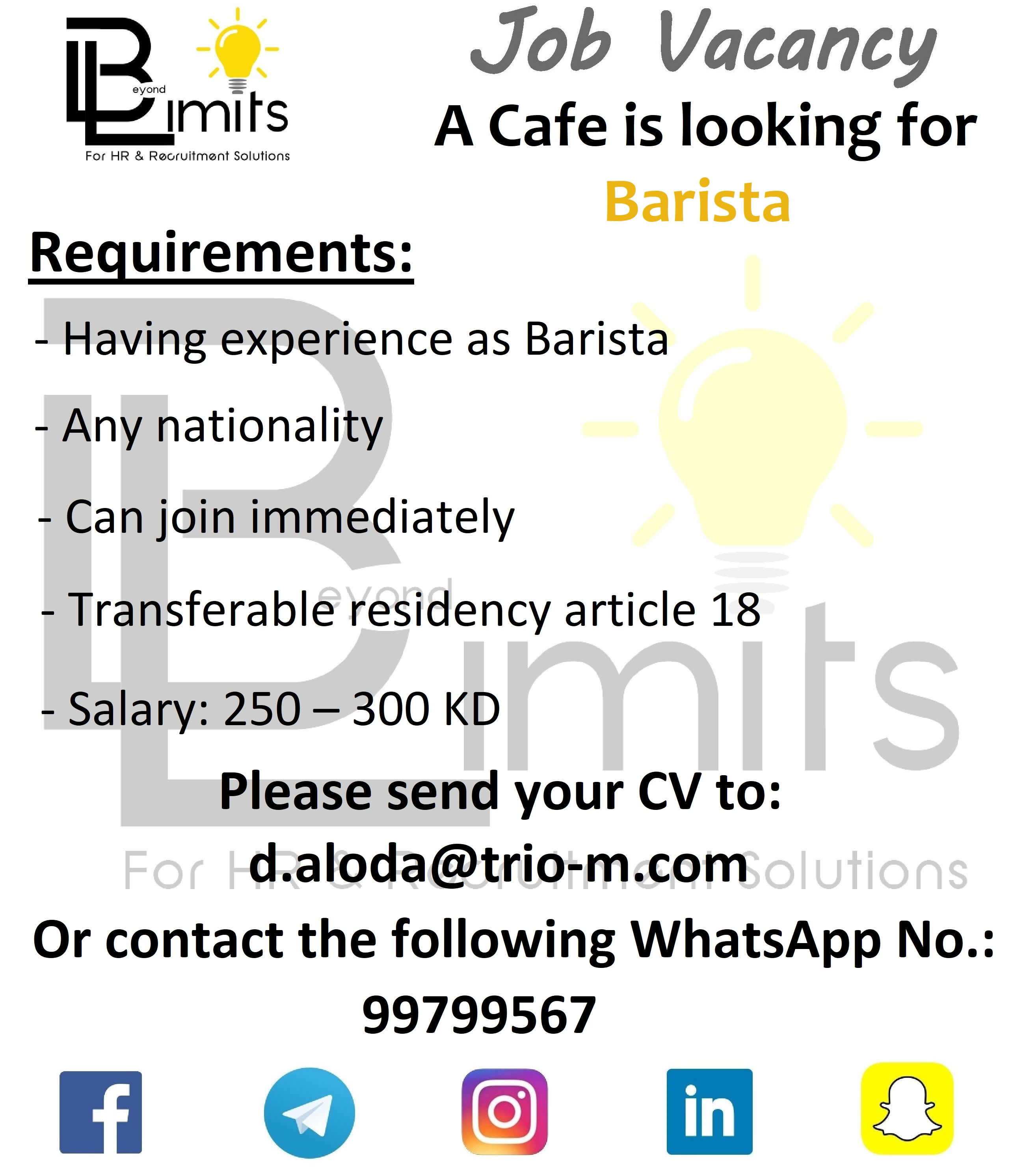 Required Barista