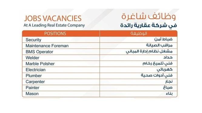 مطلوب للعمل بشركة عقارية رائدة بالكويت ضباط أمن وفنيين التخصصات التالية: