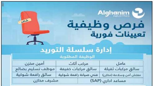 اليوم المفتوح للتوظيف بمجموعة الغانم الكويتية الجمعة 4 يونيو 2021